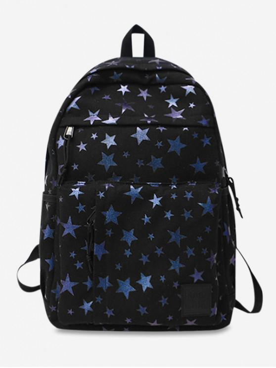 trendy Star Pattern Canvas Book Backpack - BLACK