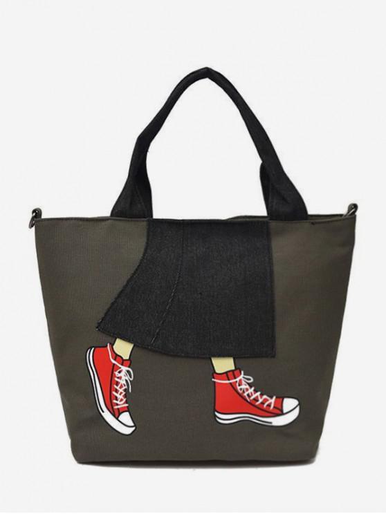 buy Printed Denim Patch Tote Bag - ARMY GREEN