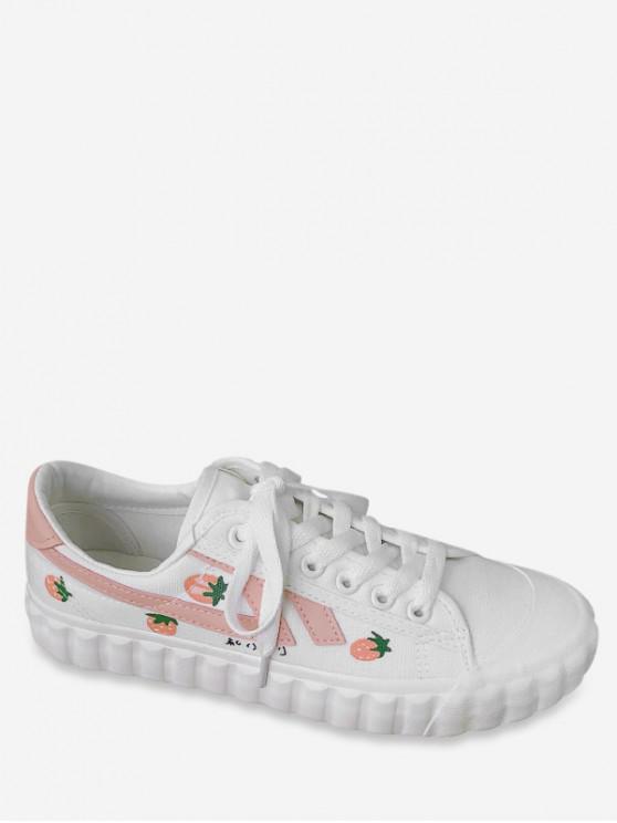women's Sweet Strawberry Canvas Shoes - PINK EU 40