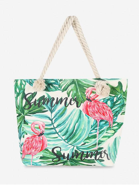 ladies Flamingo Leaves Canvas Tote Bag - SEAWEED GREEN