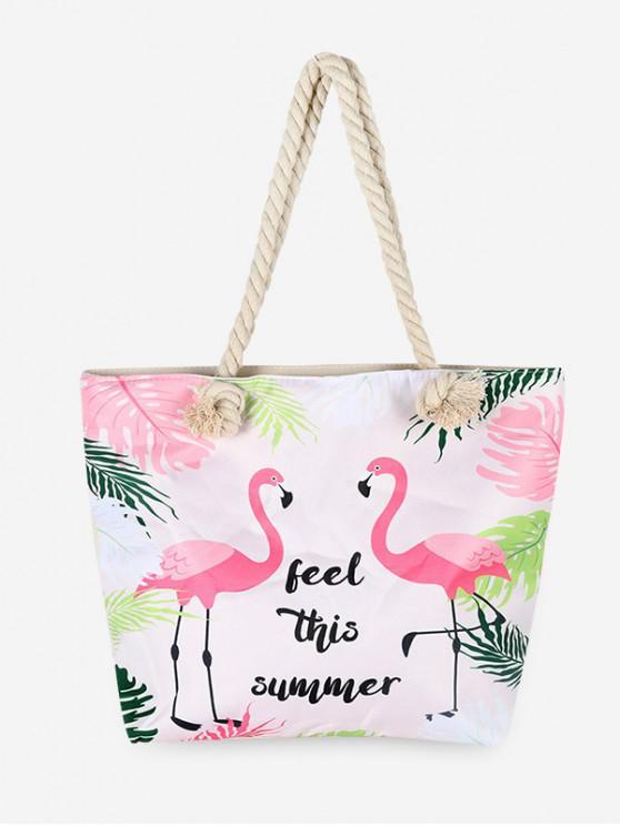 best Flamingo Letter Canvas Shoulder Bag - FLAMINGO PINK