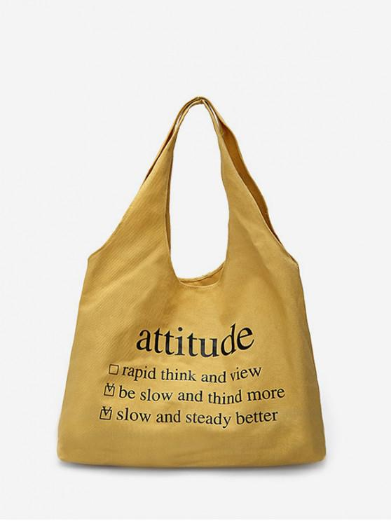 online Solid Color Letter Large Capacity Shoulder Bag - SUN YELLOW