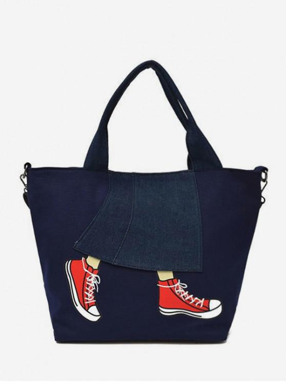 hot Printed Denim Patch Tote Bag - DARK SLATE BLUE
