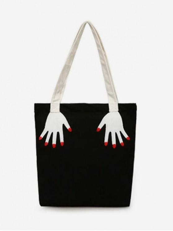 outfits Hand Pattern Canvas Personality Shoulder Bag - BLACK