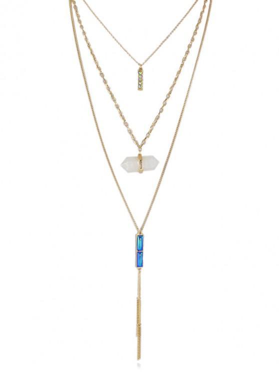 latest Rhinestone Design Alloy Chain Necklace - GOLD