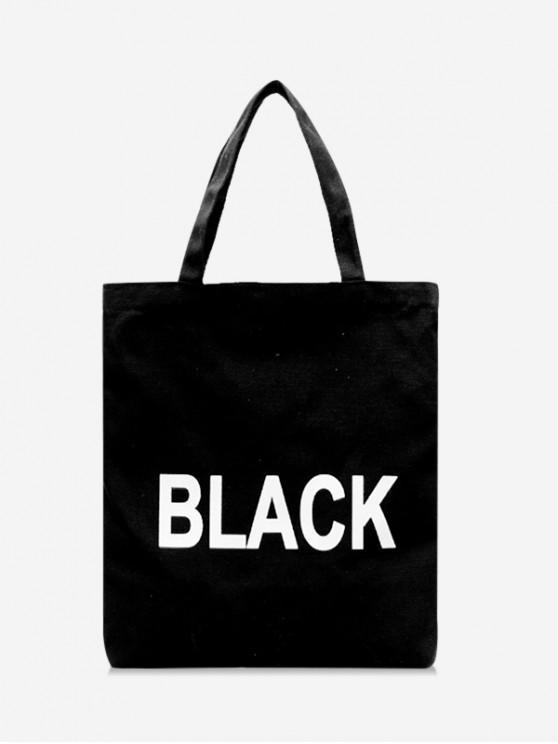 trendy Letter Graphic Canvas Shoulder Bag - BLACK