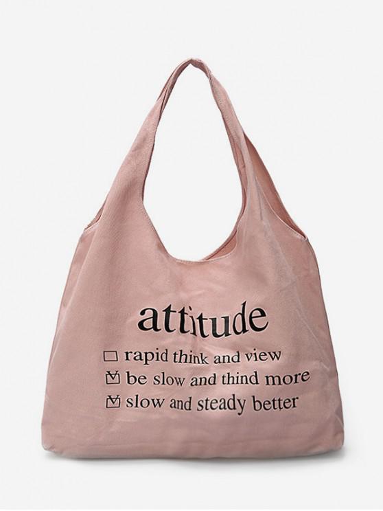 fashion Solid Color Letter Large Capacity Shoulder Bag - FLAMINGO PINK