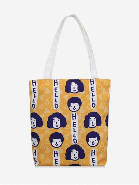fancy Creative Printed Canvas Shoulder Bag - BEE YELLOW