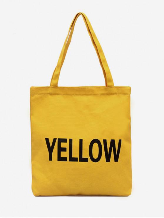 best Letter Graphic Canvas Shoulder Bag - SUN YELLOW