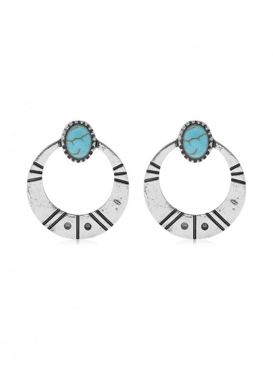 chic Simple Turquoise Circle Earrings - SILVER
