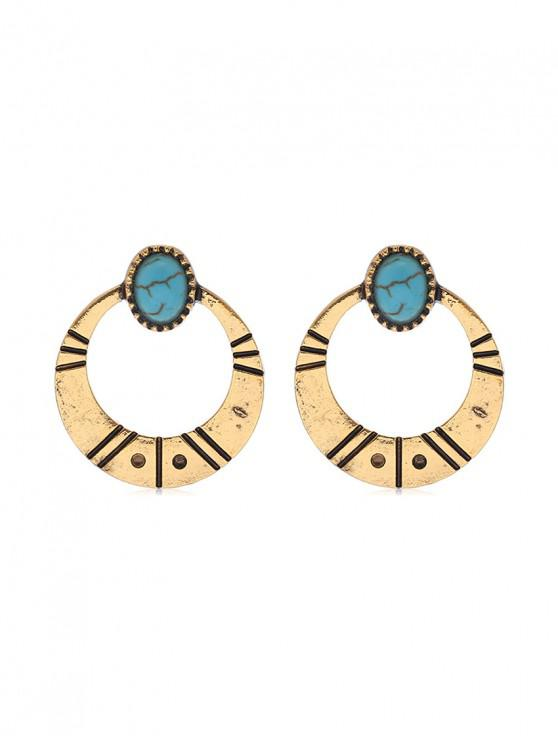shop Simple Turquoise Circle Earrings - GOLD