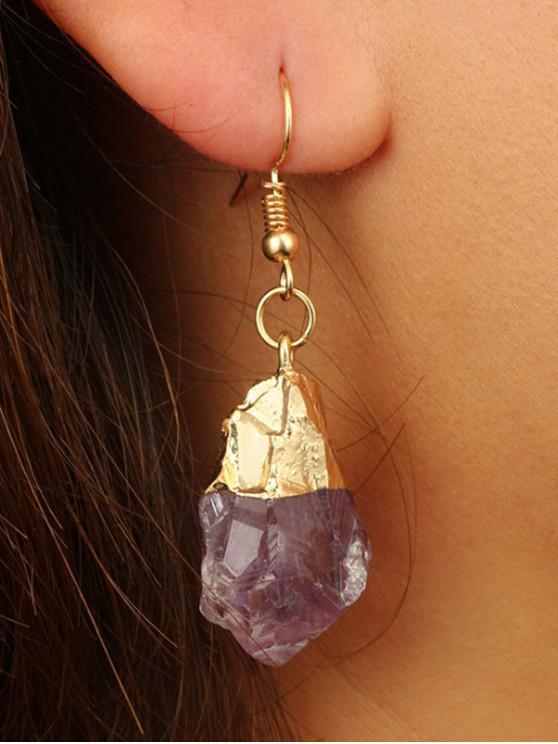 shops Stone Crystal Alloy Hook Earrings - PURPLE