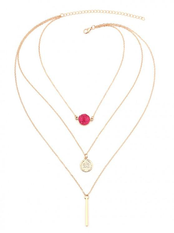 latest Bar Natural Stone Multilayered Necklace - ROSE RED
