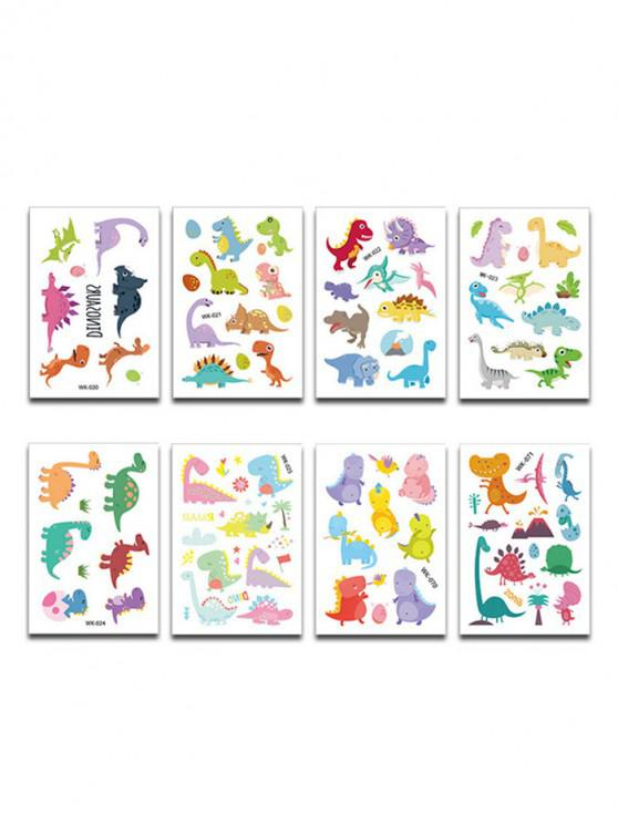 trendy 8Pcs Dinosaur Disposable Print Tattoo Stickers - MULTI-A