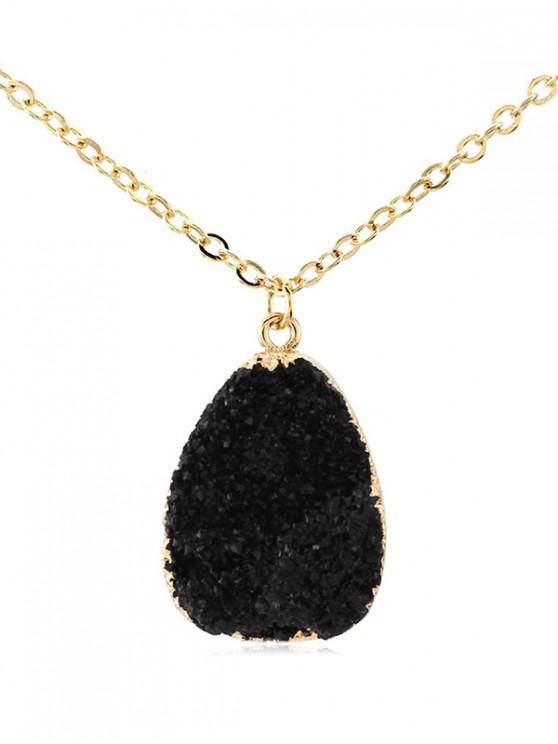 womens Water Drop Natural Stone Necklace - BLACK