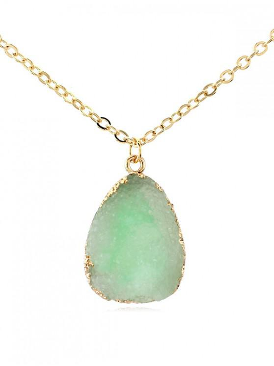 online Water Drop Natural Stone Necklace - GREEN