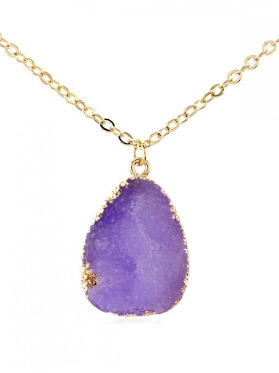 women Water Drop Natural Stone Necklace - PURPLE