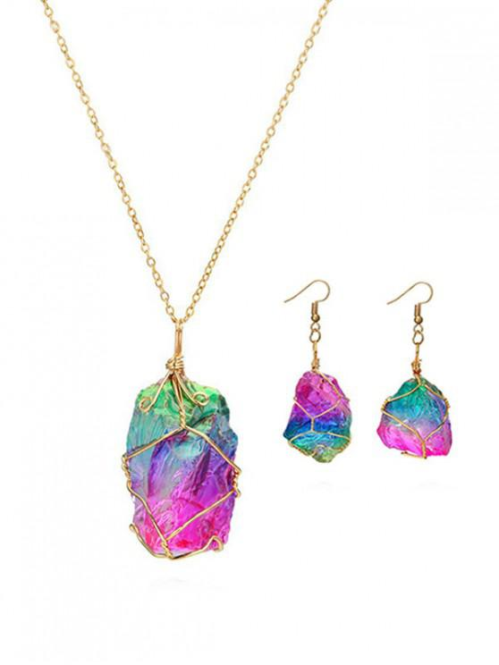 best Natural Stone Necklace Earrings Set - MULTI