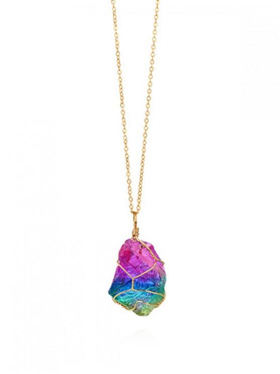 buy Colored Crystal Stone Necklace - MULTI