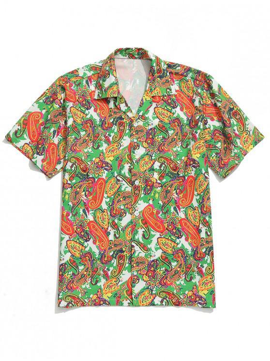 fancy Paisley Plant Print Casual Beach Shirt - MULTI S