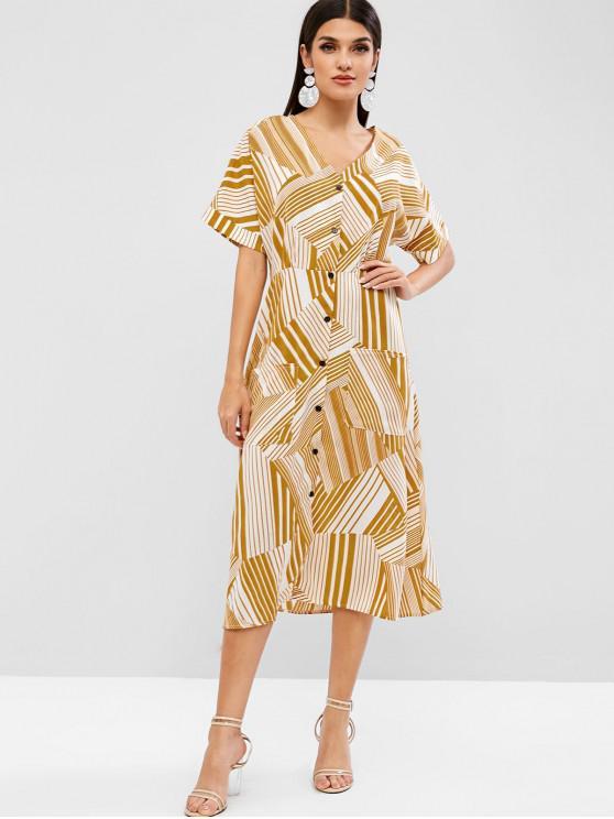 fashion Button Up Pockets Geometric Print Dress - BEE YELLOW XL