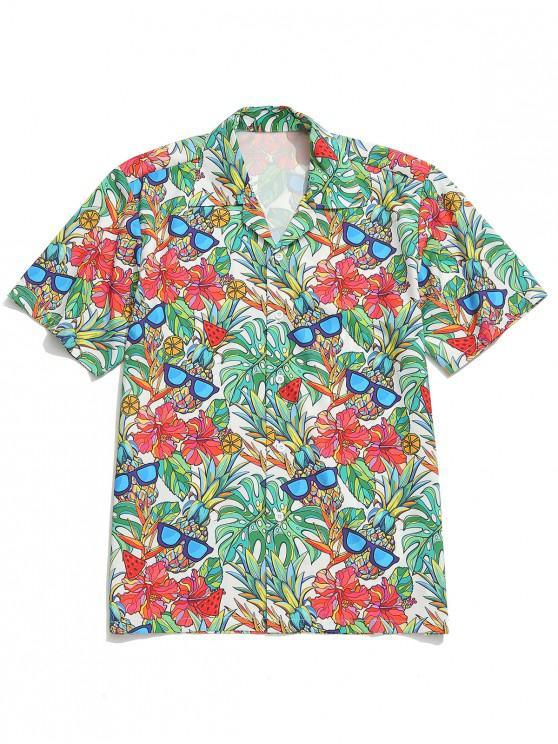 unique Plant Flower and Fruit Print Board Shirt - MULTI S