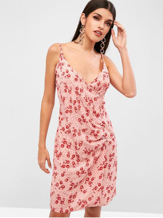 7c9c4ae57 23% OFF] [NEW] 2019 Floral Print Button Up Dress In ROSY BROWN | ZAFUL