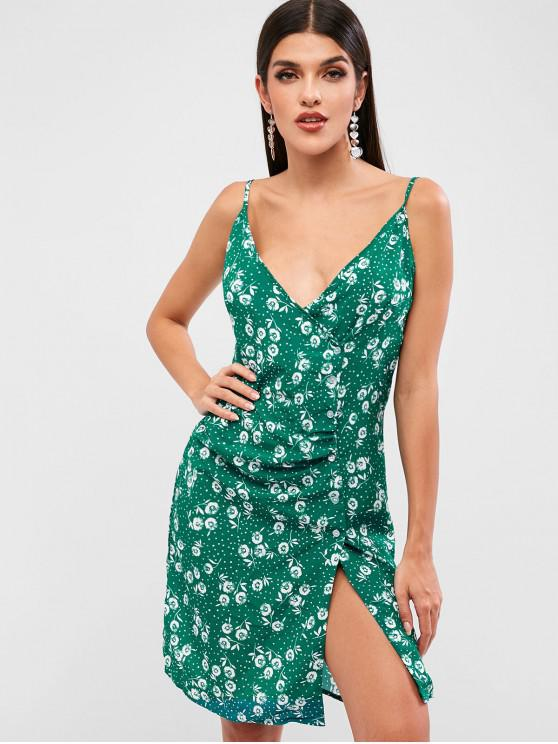 buy Floral Print Button Up Dress - GREEN L