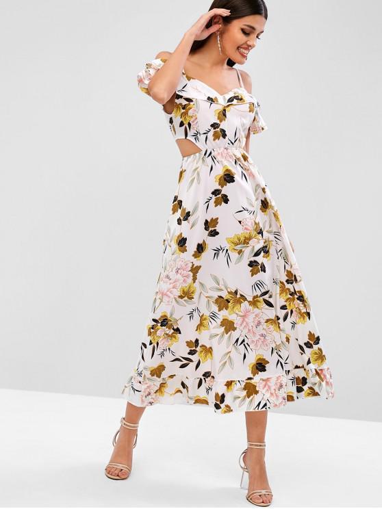 women Ruffles Cold Shoulder Cut Out Floral Dress - WHITE M