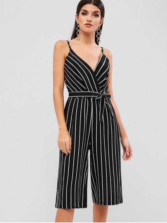 womens Belted Stripes Wide Leg Capri Jumpsuit - BLACK S