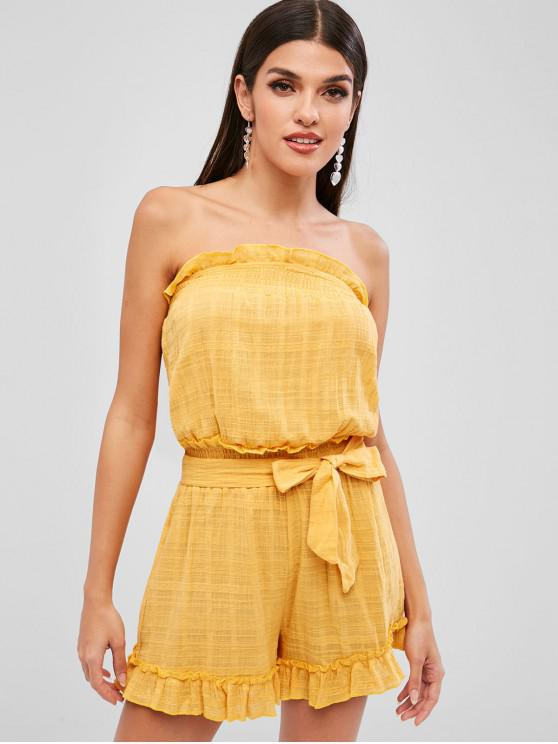 womens Ruffles Strapless Belted Wide Leg Romper - GOLDENROD M
