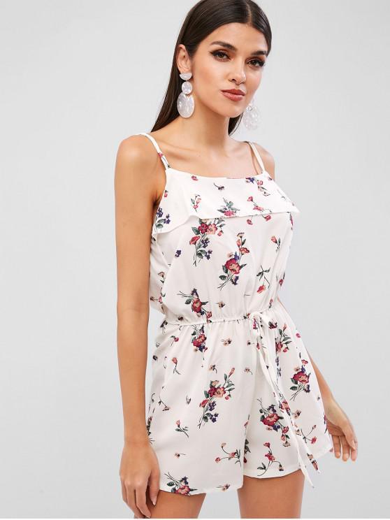 shop Floral Print Flounce Cami Romper - WHITE S
