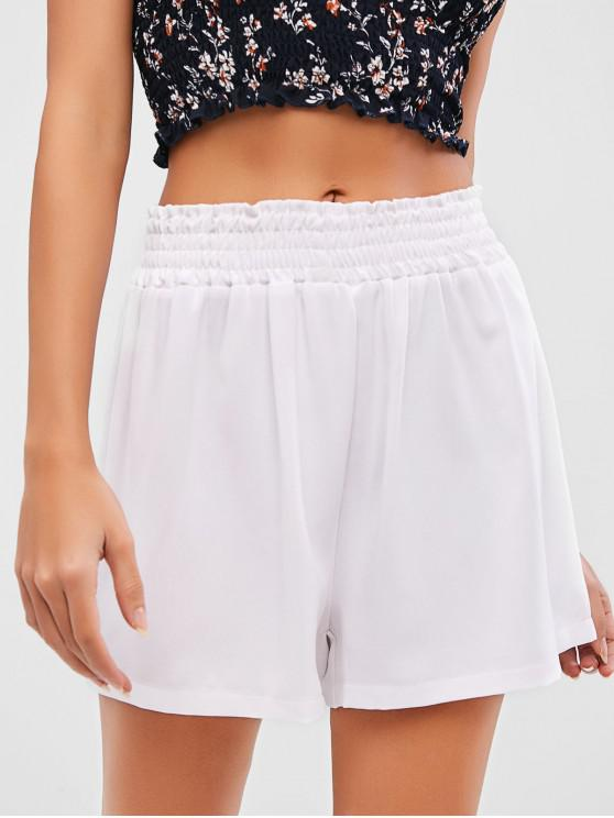 outfit ZAFUL Solid Smocked High Waisted Shorts - WHITE XL