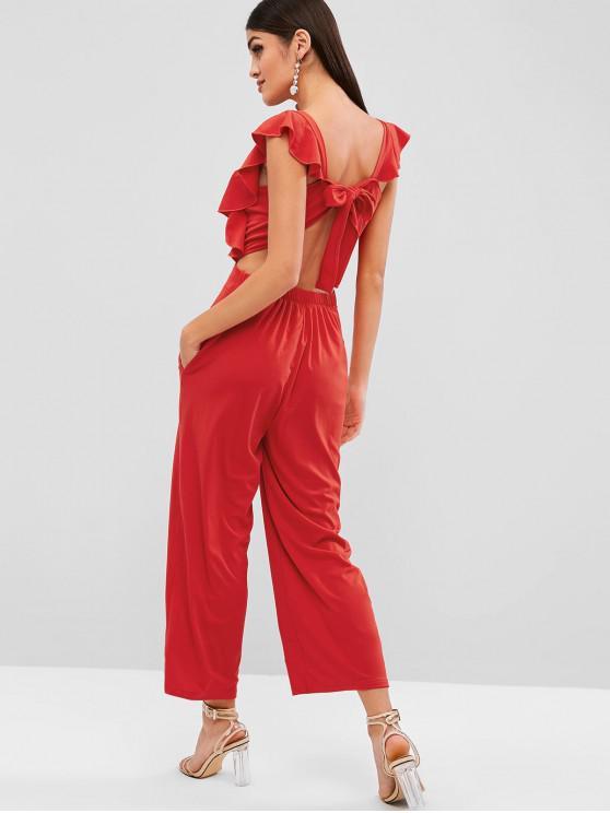 women's Knotted Back Plain Wide Leg Jumpsuit - RED XL