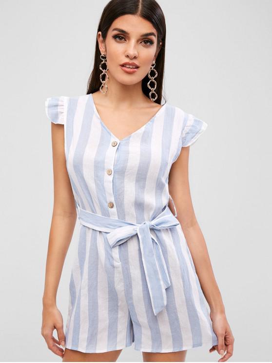hot Striped Half Button Belted Romper - LIGHT BLUE M