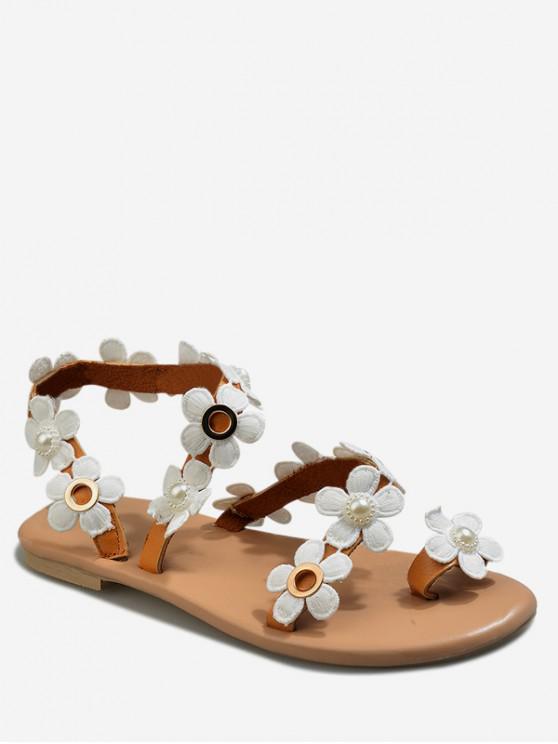 fancy Casual Flower Pattern Summer Sandals - DEEP BROWN EU 37