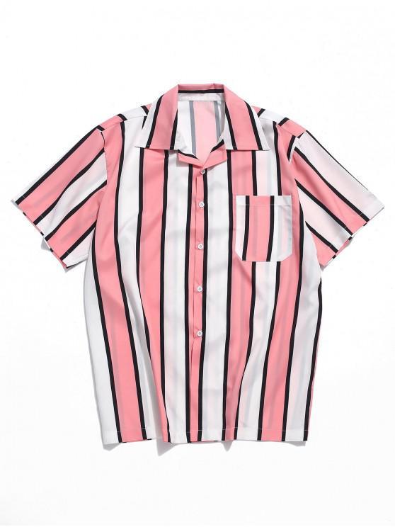 hot Color Block Stripes Print Casual Shirt - PINK M