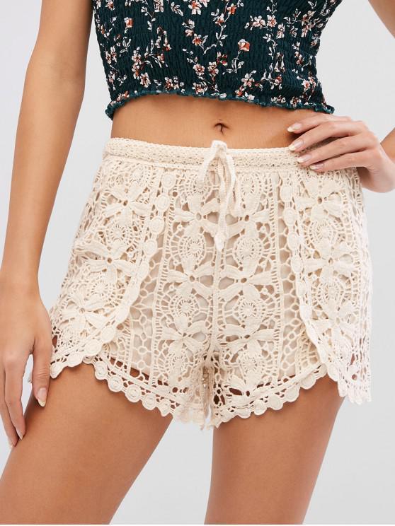 shop Drawstring Crocheted Shorts - WARM WHITE ONE SIZE