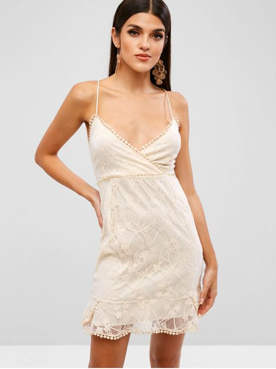 Criss Cross Lace Up Surplice Lace Dress - Albicocca S