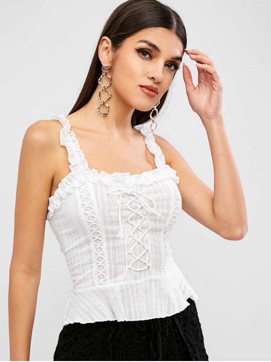 online Lace Up Smocked Ruffle Tank Top - WHITE S
