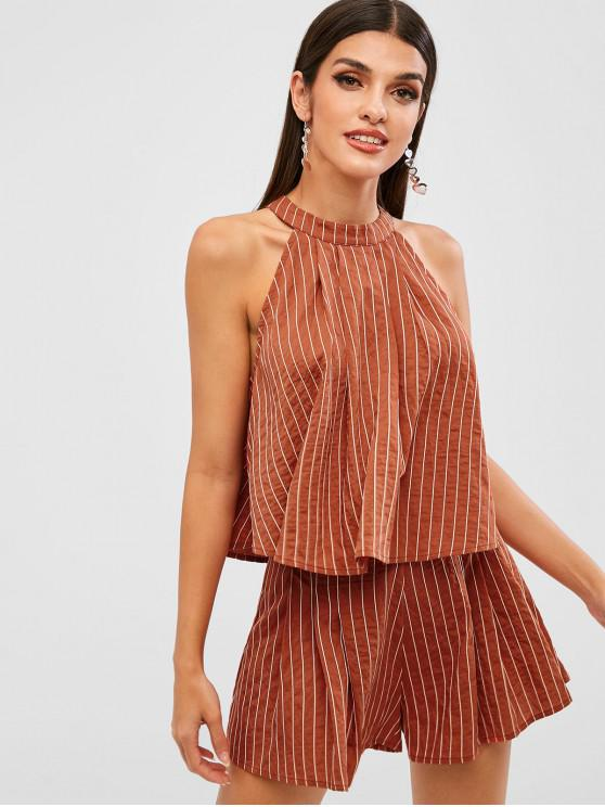 chic ZAFUL Stripes Top And Wide Leg Shorts Set - LIGHT BROWN M