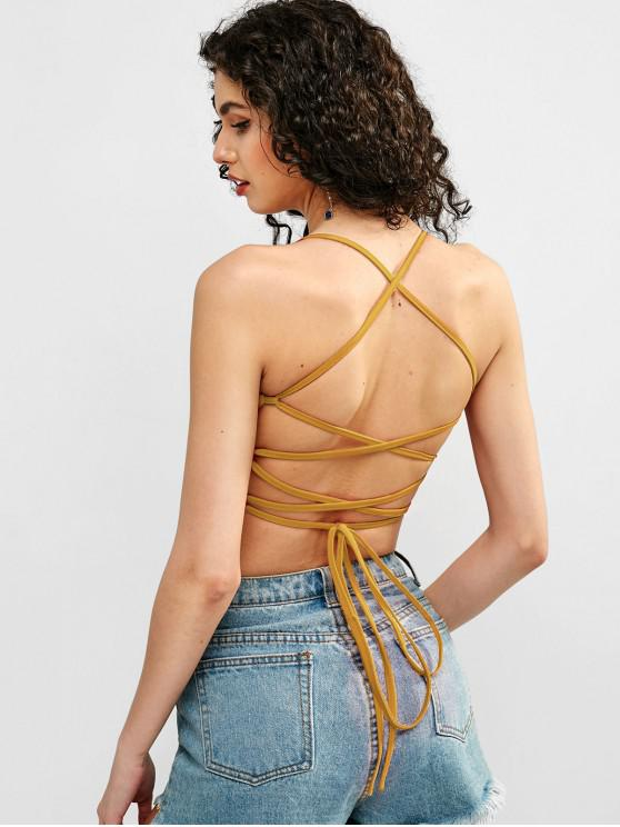 hot ZAFUL Cropped Lace Up Cami Top - BEE YELLOW M