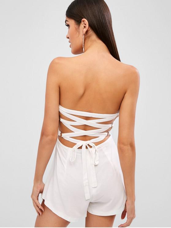 shops ZAFUL Back Lace-up Bandeau Romper - WHITE M