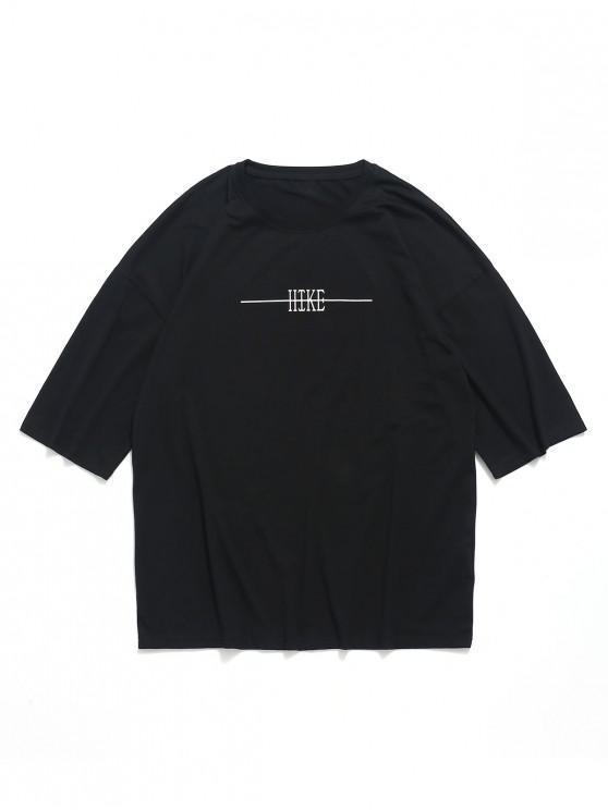 affordable Letter Traveling Print Drop Shoulder T-shirt - BLACK M