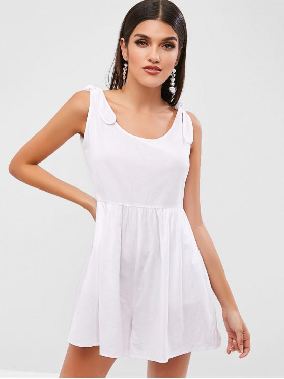 shop ZAFUL Tied Sleeveless Wide Leg Romper - WHITE S