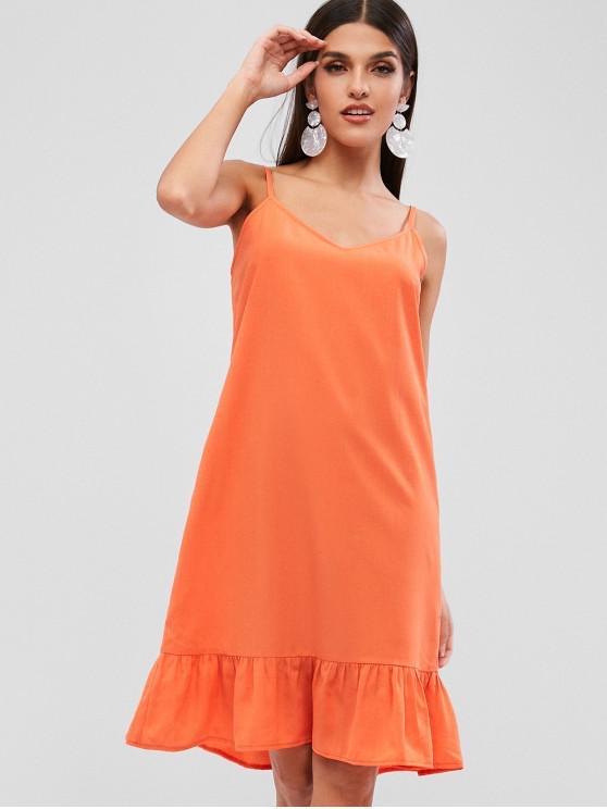 hot ZAFUL Ruffle Cami Tunic Dress - ORANGE L