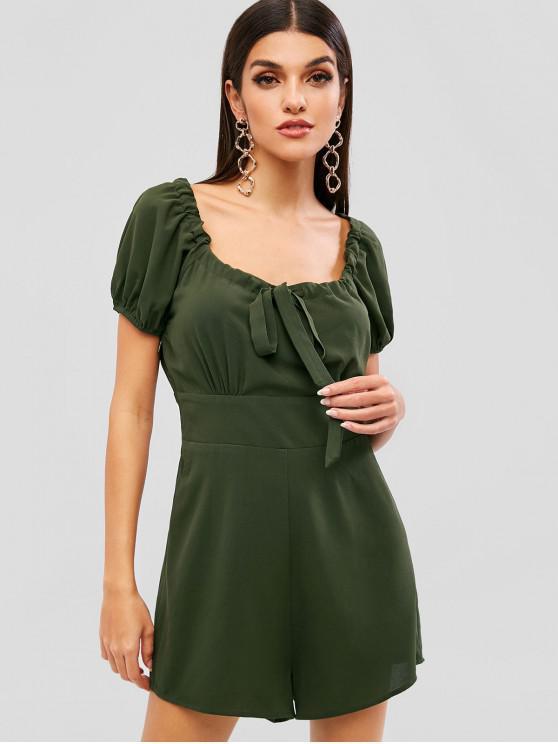 best ZAFUL Short Sleeve Drawstring Collar Pockets Romper - ARMY GREEN S