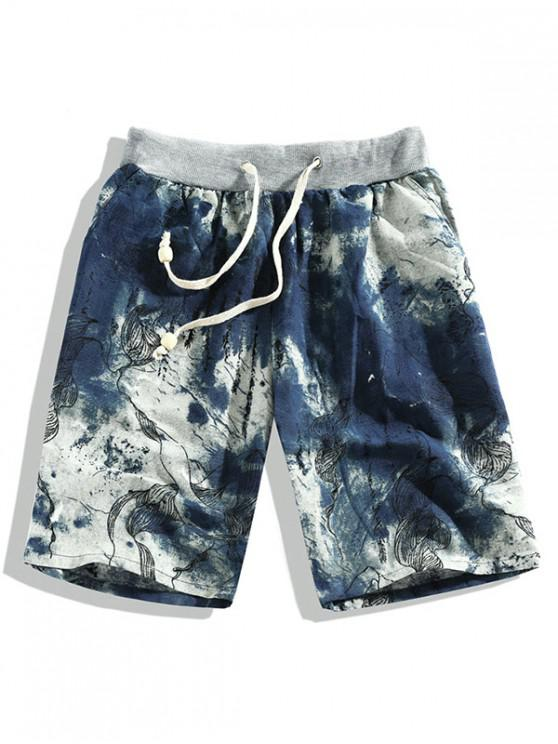 hot Ink Painting Leaf Print Drawstring Shorts - MULTI-A 4XL