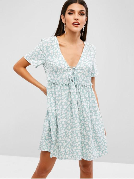 fancy ZAFUL Floral Print Lace Up A Line Dress - TURQUOISE M