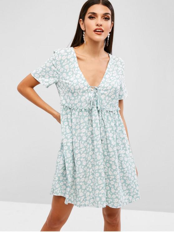 ZAFUL Floral Imprimir Lace Up A Line Dress - Turquesa M